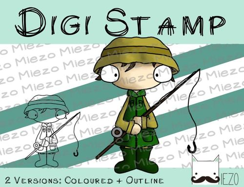 Digitaler Stempel, Digi Stamp Angler, 2 Versionen: Outlines, in Farbe