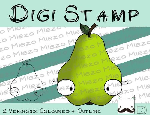 Digitaler Stempel, Digi Stamp Birne , 2 Versionen: Outlines, in Farbe