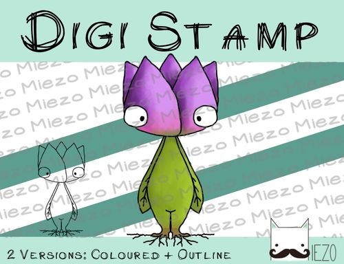 Digitaler Stempel, Digi Stamp Tulpe , 2 Versionen: Outlines, in Farbe