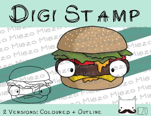 Digitaler Stempel, Digi Stamp Burger, 2 Versionen: Outlines, in Farbe