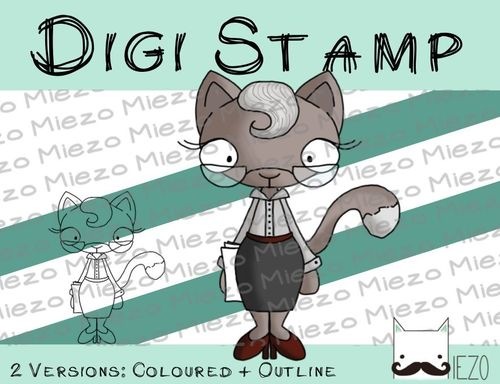 Digitaler Stempel, Digi Stamp Büromieze, 2 Versionen: Outlines, in Farbe