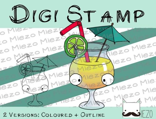 Digitaler Stempel, Digi Stamp Cocktail, 2 Versionen: Outlines, in Farbe