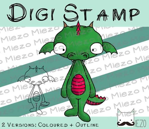Digitaler Stempel, Digi Stamp Drache, 2 Versionen: Outlines, in Farbe