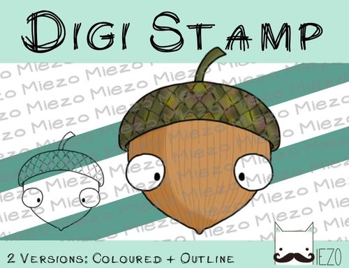 Digitaler Stempel, Digi Stamp Eichel, 2 Versionen: Outlines, in Farbe