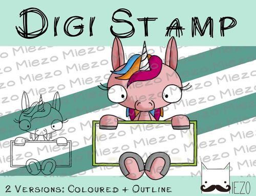 Digitaler Stempel, Digi Stamp Einhorn mit Schild, 2 Versionen: Outlines, in Farbe