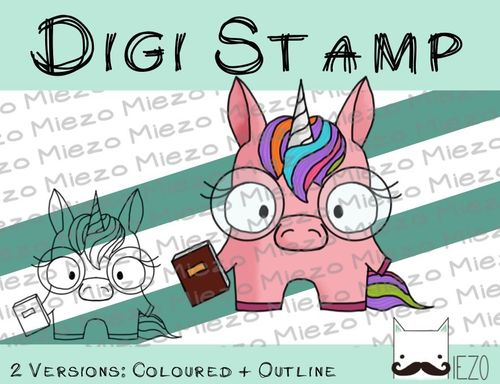 Digitaler Stempel, Digi Stamp Nerd-Einhorn, 2 Versionen: Outlines, in Farbe