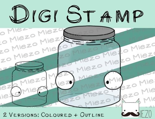 Digitaler Stempel, Digi Stamp Einmachglas, 2 Versionen: Outlines, in Farbe