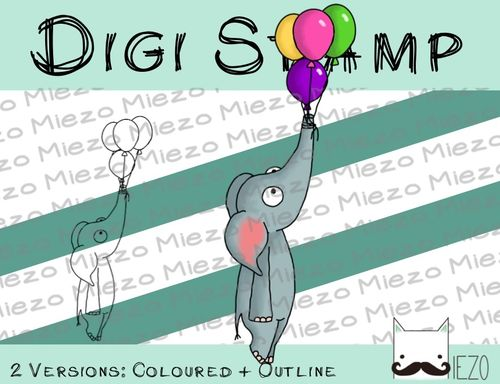 Digitaler Stempel, Digi Stamp Elefant mit Ballons, 2 Versionen: Outlines, in Farbe