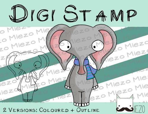 Digitaler Stempel, Digi Stamp kranker/erkälteter Elefant , 2 Versionen: Outlines, in Farbe