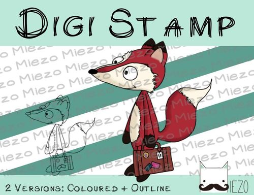 Digitaler Stempel, Digi Stamp Fuchs mit Koffer, 2 Versionen: Outlines, in Farbe