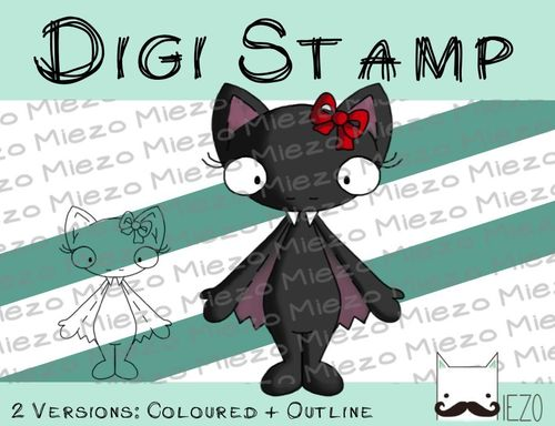 Digitaler Stempel, Digi Stamp Fledermaus weiblich, 2 Versionen: Outlines, in Farbe
