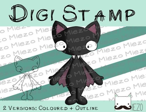 Digitaler Stempel, Digi Stamp Fledermaus männlich, 2 Versionen: Outlines, in Farbe
