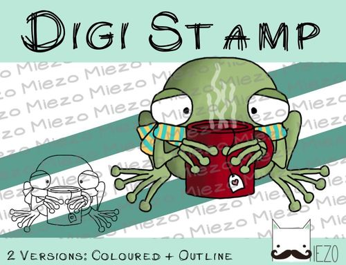 Digitaler Stempel, Digi Stamp Frosch krank, 2 Versionen: Outlines, in Farbe