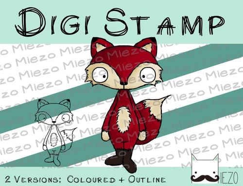 Digitaler Stempel, Digi Stamp Fuchs, 2 Versionen: Outlines, in Farbe