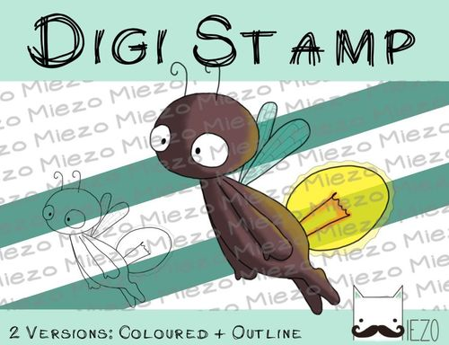 Digitaler Stempel, Digi Stamp Glühwürmchen, 2 Versionen: Outlines, in Farbe