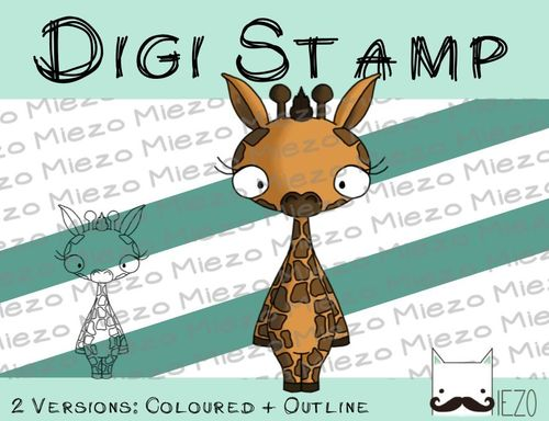 Digitaler Stempel, Digi Stamp Giraffe, 2 Versionen: Outlines, in Farbe