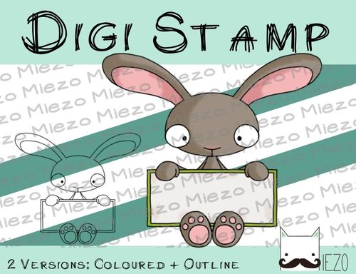 Digitaler Stempel, Digi Stamp Hase mit Schild, 2 Versionen: Outlines, in Farbe