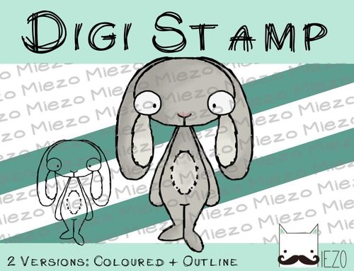 Digitaler Stempel, Digi Stamp Hase, 2 Versionen: Outlines, in Farbe