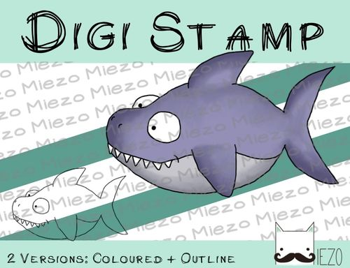 Digitaler Stempel, Digi Stamp Hai, 2 Versionen: Outlines, in Farbe