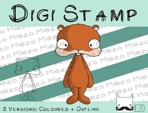 Digitaler Stempel, Digi Stamp Hamster, 2 Versionen: Outlines, in Farbe