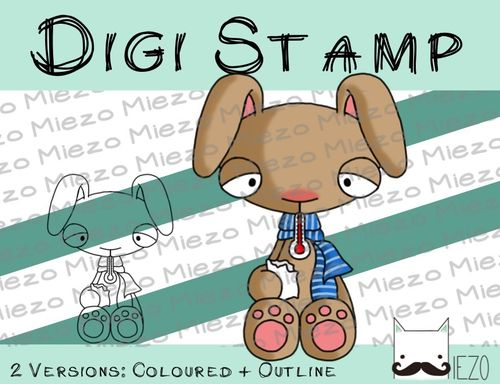 Digitaler Stempel, Digi Stamp kranker Hase, 2 Versionen: Outlines, in Farbe