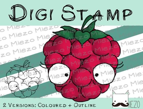 Digitaler Stempel, Digi Stamp Himbeere, 2 Versionen: Outlines, in Farbe