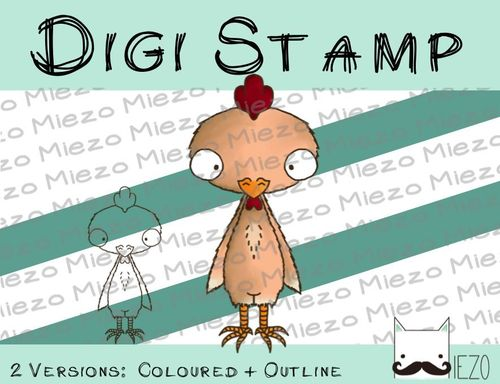 Digitaler Stempel, Digi Stamp Huhn, 2 Versionen: Outlines, in Farbe