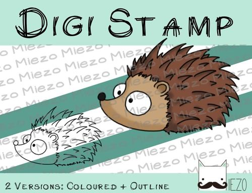 Digitaler Stempel, Digi Stamp Igel, 2 Versionen: Outlines, in Farbe