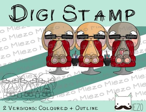 Digitaler Stempel, Digi Stamp Kinohasen, 2 Versionen: Outlines, in Farbe