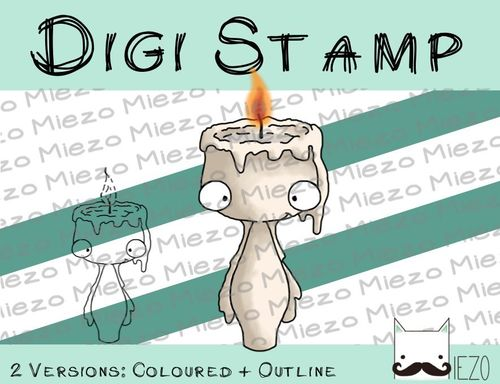 Digitaler Stempel, Digi Stamp Kerze mit Flamme, 2 Versionen: Outlines, in Farbe