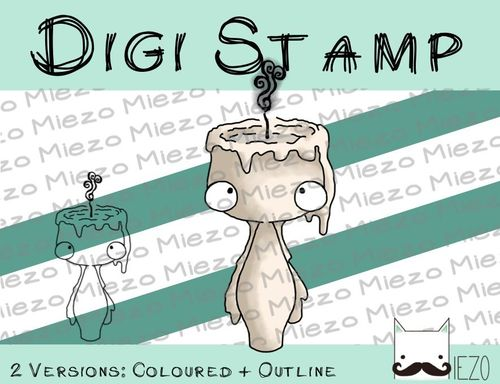 Digitaler Stempel, Digi Stamp Kerze ohne Flamme, 2 Versionen: Outlines, in Farbe