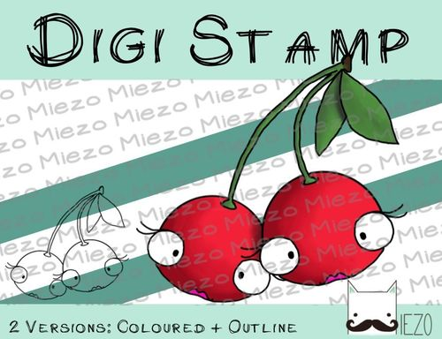 Digitaler Stempel, Digi Stamp Kirschen, 2 Versionen: Outlines, in Farbe