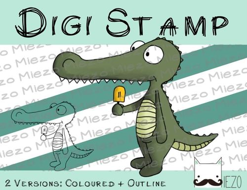 Digitaler Stempel, Digi Stamp Krokodil mit Eis, 2 Versionen: Outlines, in Farbe