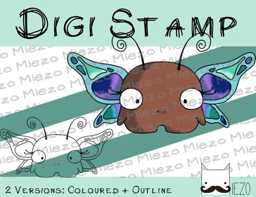 Digitaler Stempel, Digi Stamp Mini-Schmetterling, 2 Versionen: Outlines, in Farbe