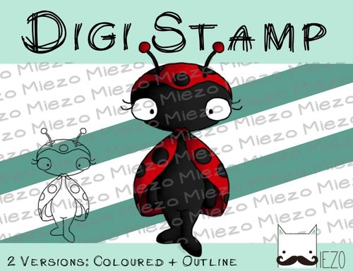 Digitaler Stempel, Digi Stamp Marienkäfer, 2 Versionen: Outlines, in Farbe
