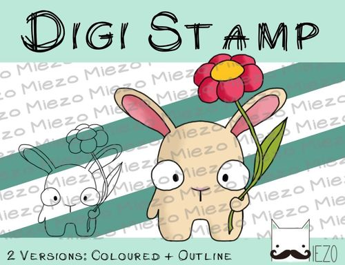 Digitaler Stempel, Digi Stamp Mini-Hase mit Blume, 2 Versionen: Outlines, in Farbe