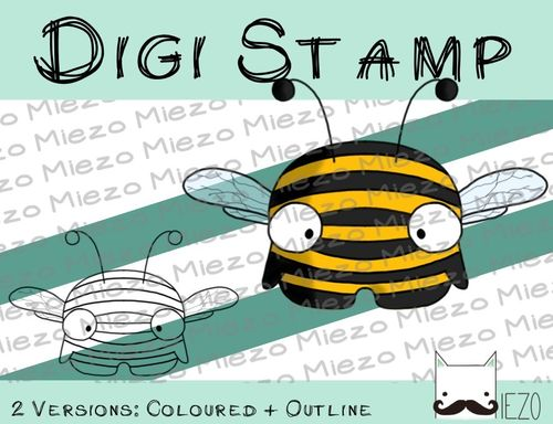 Digitaler Stempel, Digi Stamp Mini-Biene, 2 Versionen: Outlines, in Farbe