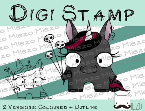 Digitaler Stempel, Digi Stamp Mini-Einhorn böse, 2 Versionen: Outlines, in Farbe