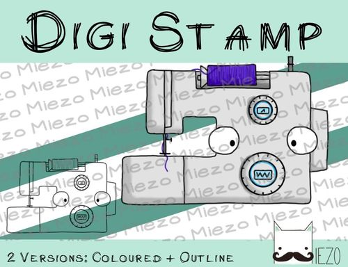 Digitaler Stempel, Digi Stamp Nähmaschine, 2 Versionen: Outlines, in Farbe