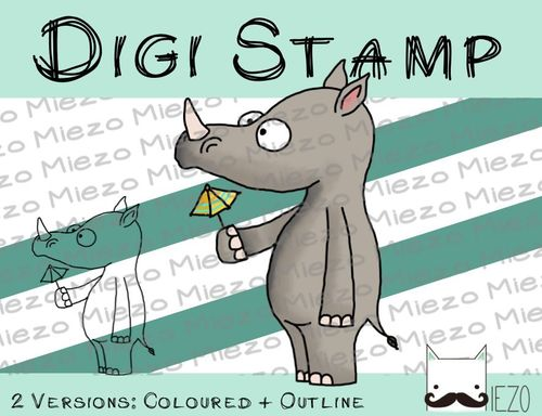 Digitaler Stempel, Digi Stamp Nashorn, 2 Versionen: Outlines, in Farbe