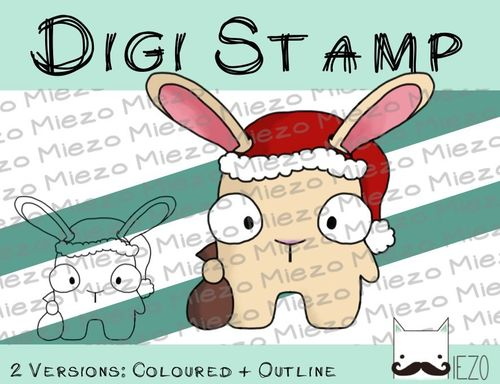 Digitaler Stempel, Digi Stamp Nikolaus-Mini-Hase, 2 Versionen: Outlines, in Farbe