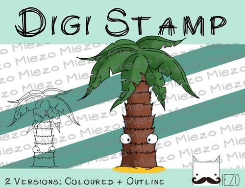 Digitaler Stempel, Digi Stamp Palme, 2 Versionen: Outlines, in Farbe