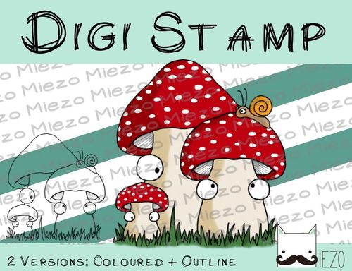 Digitaler Stempel, Digi Stamp Fliegenpilze, 2 Versionen: Outlines, in Farbe