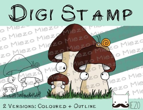 Digitaler Stempel, Digi Stamp Pilze braun, 2 Versionen: Outlines, in Farbe