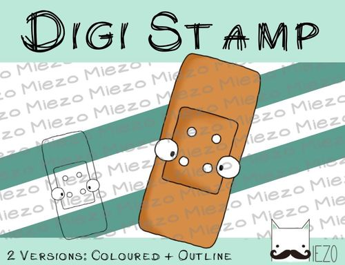 Digitaler Stempel, Digi Stamp Pflaster, 2 Versionen: Outlines, in Farbe