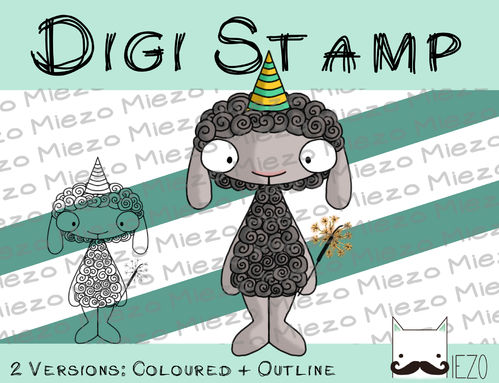 Digitaler Stempel, Digi Stamp Partyschaf, 2 Versionen: Outlines, in Farbe