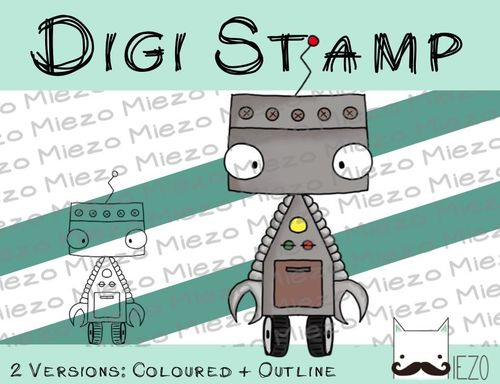 Digitaler Stempel, Digi Stamp Roboter, 2 Versionen: Outlines, in Farbe