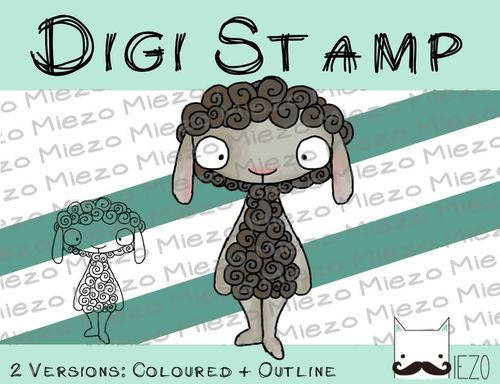 Digitaler Stempel, Digi Stamp Schaf, 2 Versionen: Outlines, in Farbe