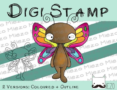 Digitaler Stempel, Digi Stamp Schmetterling, 2 Versionen: Outlines, in Farbe