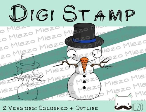 Digitaler Stempel, Digi Stamp Schneemann, 2 Versionen: Outlines, in Farbe